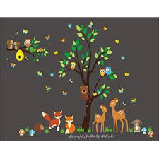 Nursery Wall Decals Nature Themed Nursery Decor Wall Decals Nursery Nursery Room Wall Decals Forest Animal Wall Stickers Removable And