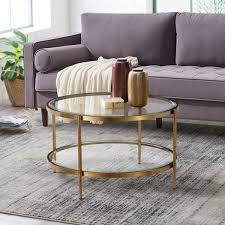 round coffee table with tempered glass