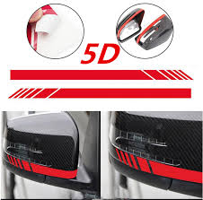 Used 2pcs 5d Gloss Carbon Red Fiber Car Rearview Mirror Racing Stripes Decal Stickers 2018 2019 24carshop Com