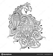 Wzor Kwiat Mehndi Paw Dla Henna Rysunek Tatuaz Dekoracja Etnicznym