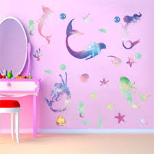 Handmade Products Stickers Childrens Playroom Or Bathroom Home Decor For Girls Bedroom Mermaid Wall Decal Mermaid Kisses Starfish Wishes