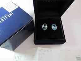 tsutsumi k14wg earrings blue topaz