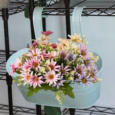 Oval Metal Plant Flower Pot Fence Balcony Garden Hanging Planter Pots Home Decor Lazada Ph