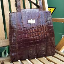 brown leather shoulder bag croc print