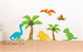 Reusable Dinosaur Scene Set Of Wall Decals Nursery Wall Decals Dinosaur Fabric Wall Decals