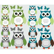 Blue And Grey Owl Wall Stickers With Butterfly Decals For Walls For Boys
