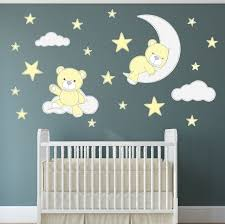 Teddy Bear Decal Nursery Wall Stickers Stars Clouds And Moon Etsy