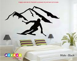 Mountain And Skier Wall Decal Man Skiing Sticker Female Etsy