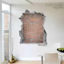 Bricks Wall Decal Stones Bricks Mural Hole In The Wall 3d Etsy