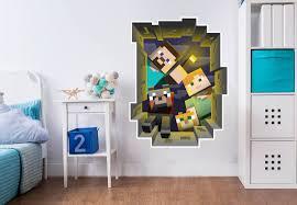 Wall Sticker Minecraft Caved In Wall Kids Room Wallpaper Minecraft Room Wall Stickers Minecraft