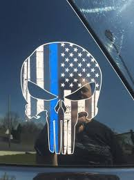 New York Police Place Punisher Thin Blue Line Logo On Cars Law Officer