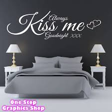 Always Kiss Me Goodnight Wall Art Quote Sticker Bedroom Lounge Love Decal 3 Ebay
