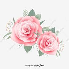 وردي رسمت باليد جمالية صغيرة وردة طازجة ورقة الشجر مرسومة باليد