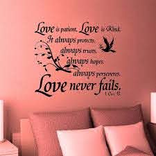 Amazon Com Jeyfel Decals Wall Decals Christian Decor 1 Corinthians 13 Love Is Patient Love Is Kind It Always Protects Always Trust Always Hopes 32 W X 27 H Home Kitchen