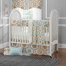 orange aqua perless crib bedding