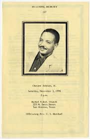Funeral Program for Chester Johnson, Jr., November 3, 1990] - The ...
