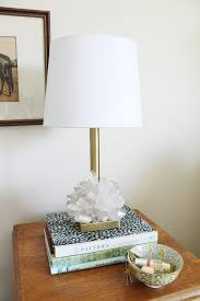 plain brass lamp base with raw crystal