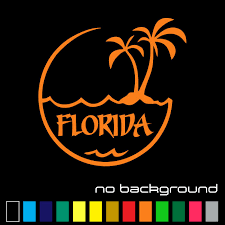 Oracal Florida Sticker Vinyl Decal Palm Tree Beach Sunshine Orange State Car Window