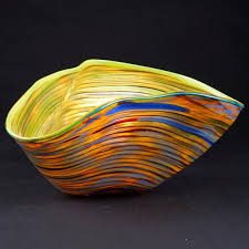 blue and orange glass bowl