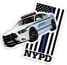 Amazon Com Popfunk New York City Nyc Nypd Thin Blue Line Flag And Car Collectible Stickers Home Kitchen