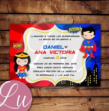 Invitacion Digital Mujer Maravilla Y Superman Cuates 70 00 En