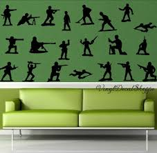 Set Of Toy Soldier Wall Decals Boys Room Wall Decor Boys Wall Decal Toy Soldiers Military Decor Military Theme Nursery Army Decor