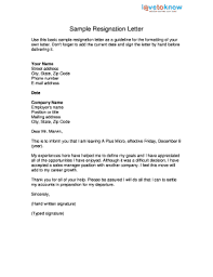 printable resignation letter template