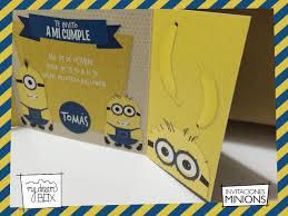 Tarjetas Invitacion Solapa Evento Cumple Infantil Minion Gru