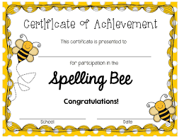 Spelling Bee Certificates Printable Invitation Templates