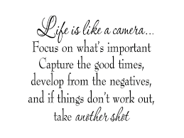Vwaq Life Is Like A Camera Focus On What S Important Capture The Good Times Develop From The Negatives Inspirational Vinyl Wall Decal Lettering Newegg Com