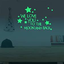 Amazon Com Marsway Kids Removable Moon Stars Glow In The Dark Sticker Night Luminous Room Wall Decal Stickers Beauty