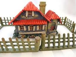Rare Putz Mica Cardboard Christmas House European Cottage W Fence Japan 477234435