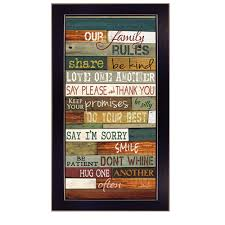 Shop Our Family Rules By Marla Rae Printed Wall Art Ready To Hang Framed Poster Black Frame Overstock 11871951