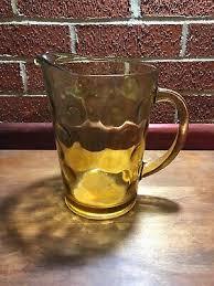 hazel atlas amber glass serving pitcher
