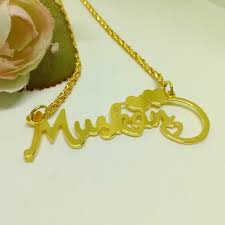 gold chain with name plate