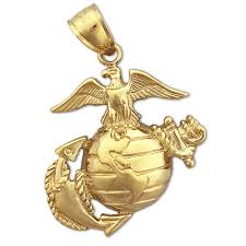 14k gold us marine corps insignia charm
