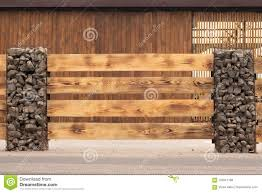 Modern Fence Made From Metal Siding And Profile Sheet Like As Natural Wood Board Stock Photo Image Of Backyard Gravel 124641188