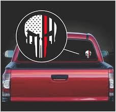 Punisher Skull Flag Fireman Firefighter Red Line Window Decal Sticker Custom Sticker Shop Skull Flag Punisher Vinyl Decal Stickers