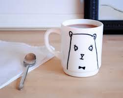 diy gift series bear mug design sponge