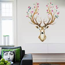 Vintage Sika Deer Flower Wall Stickers Home Decor Living Room Bedroom Cartoon Animal Wall Decals Pvc Mural Art Diy Posters Stickers Home Decor Flower Wall Stickerwall Sticker Aliexpress
