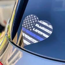 La Police Gear Thin Blue Line Heart Decal