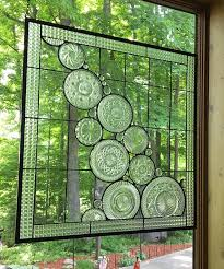large stained glass panel clear cascade