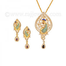 22k gold pea pendant set raj jewels