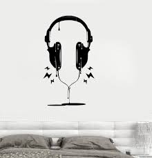 Vinyl Decal Headphones Music Pop Rock Night Club Teen Kids Room Sticke Wallstickers4you