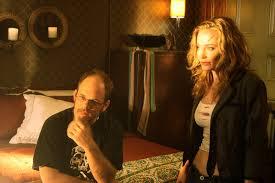 Director Adam Gierasch and actress Monica Keena on the set of ...