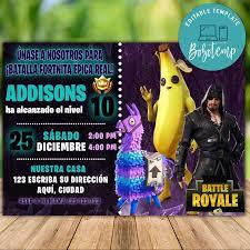 Invitacion De Fiesta De Cumpleanos De Banana Fortnite Temporada 8