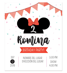 Invitacion Cumpleanos Minnie Bow Invitaciones Minnie Tarjeta De