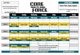 core de force workout calendar your