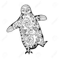 Leuke Pinguin Volwassen Antistress Kleurplaat Zwart Wit Hand