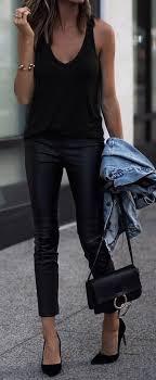 black tank black leather skinny pants